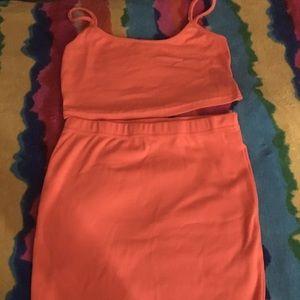 Two piece orange cropped cami & skirt set